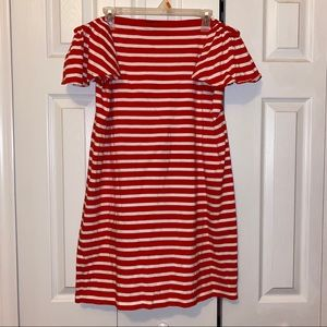Off the shoulder red and white stripped sundress